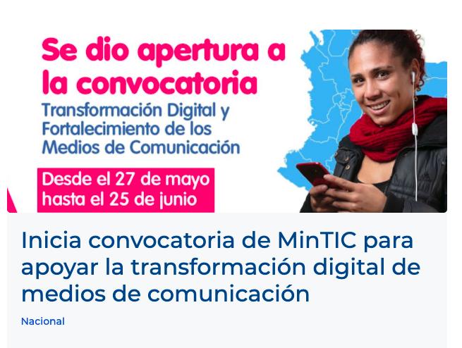 Invitación a convocatoria MinTic 2021